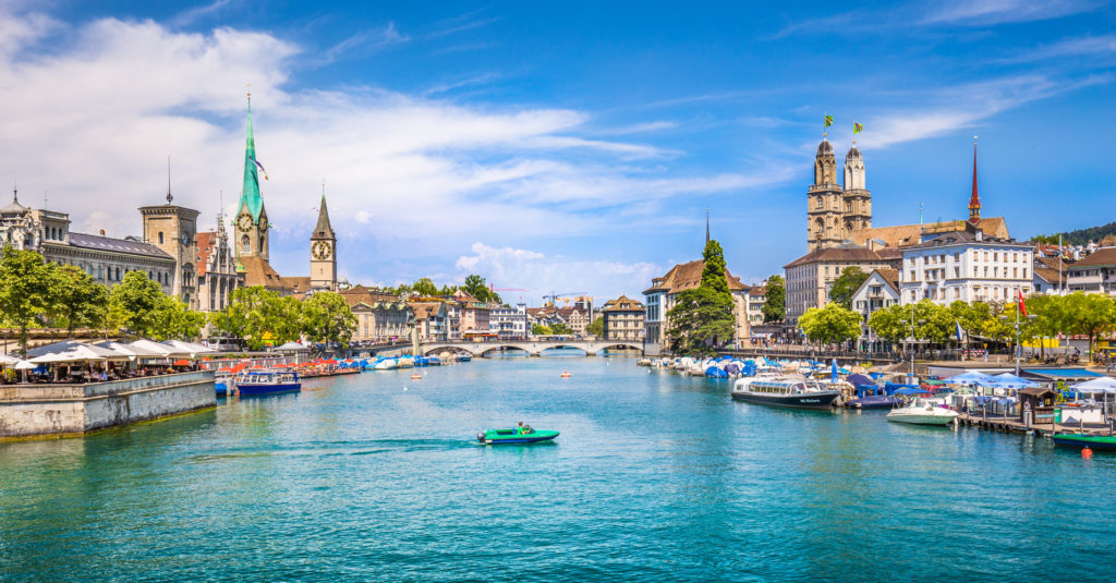 Zrich city center with river Limmat, Switzerland